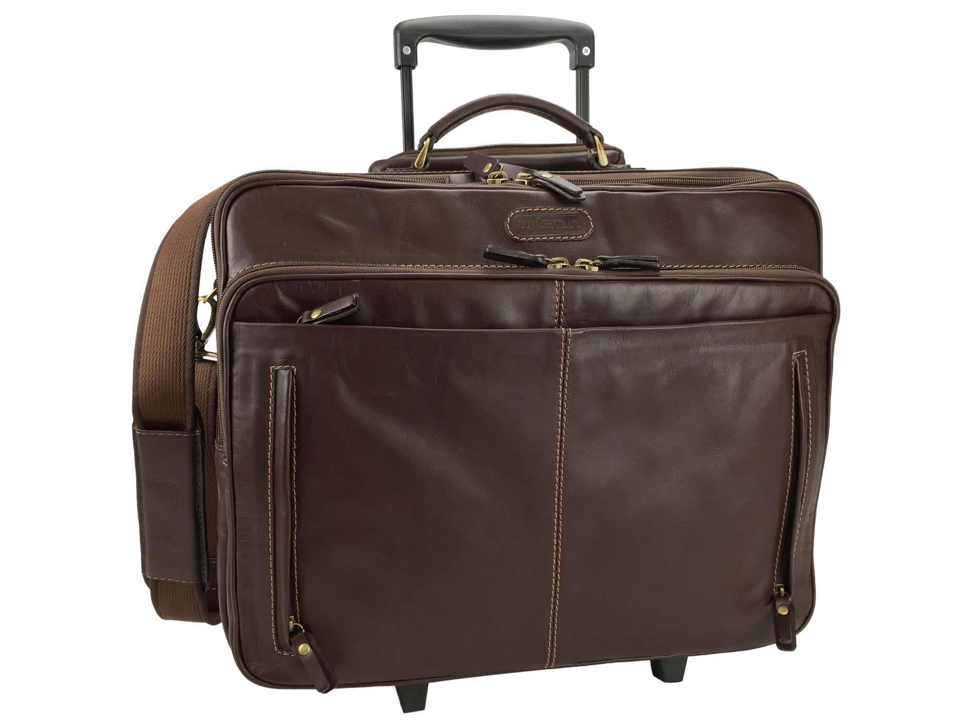 Leather Rolling Laptop Case 1117SE (Dark Brown) by Wilson