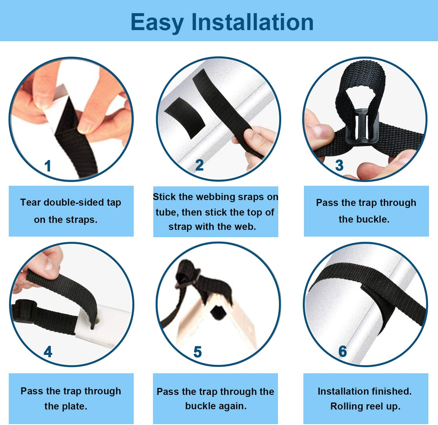 PQZATX Pool Cover Roller Attachment Solar Blanket Straps Kit Universal Pool Strapping Kit for Pool Solar Cover Reel Accessory
