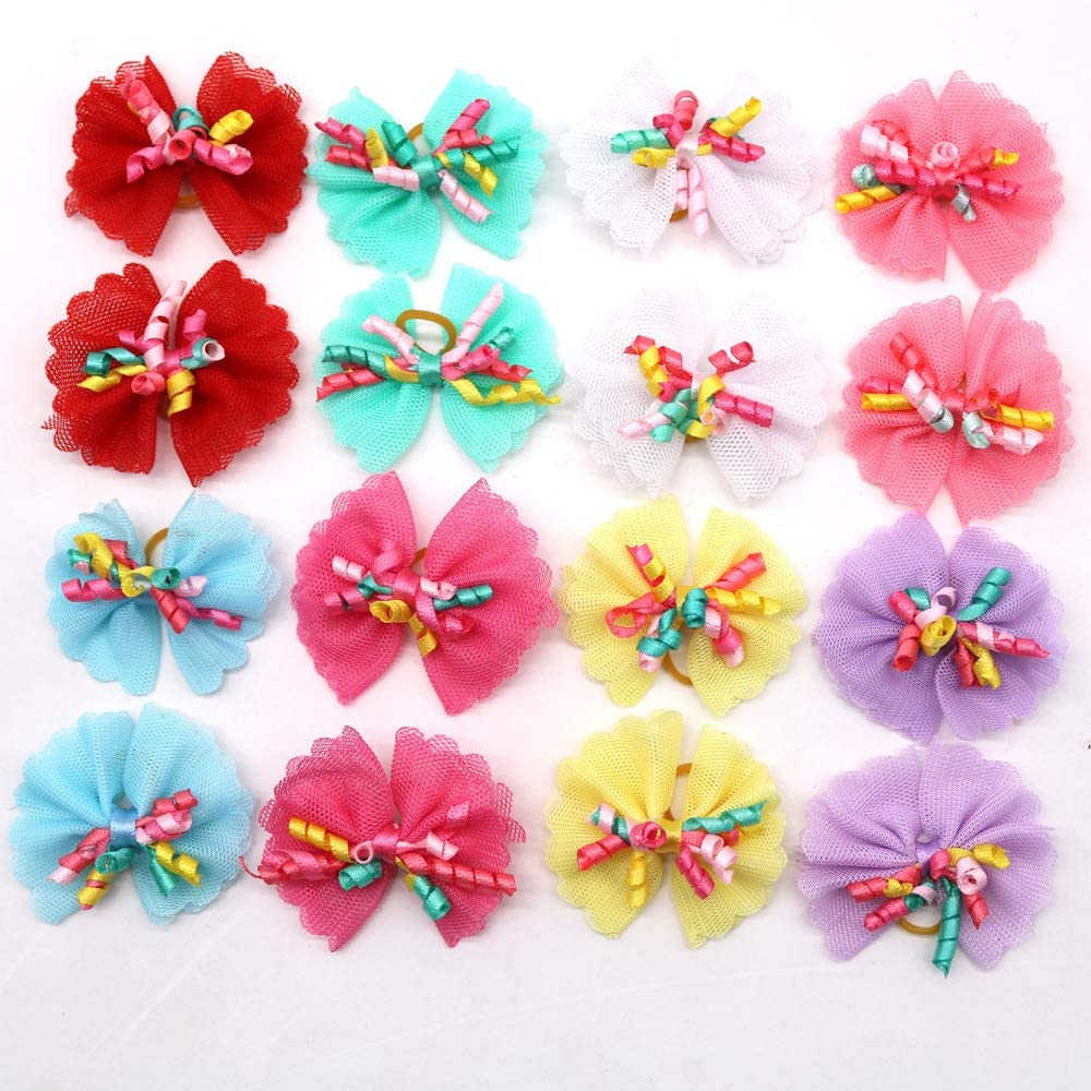 Sufermoe 32 Pcs Multicolored Dog Bows Hair Ties Pet Rubber Bands Hair Grooming Top Knots Pet Hair Bows Topknot Rubber Band Hair Bows Grooming Accessories for Pet Cat Dog or Little Girls