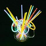 Vicloon Lot de 100 Bâtons Lumineux Fluorescents, 5 Couleurs Différentes Bracelets Fluos Lumineux pour Fête,Anniversaire