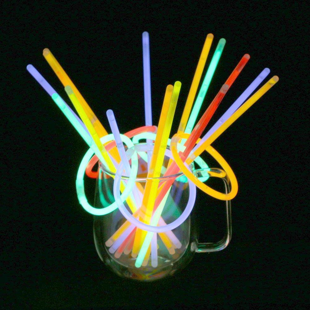 Vicloon 100 Pezzi Braccialetti Luminosi Fluorescenti Glow Stick,Colori Misti Accessori per Feste Carnevale