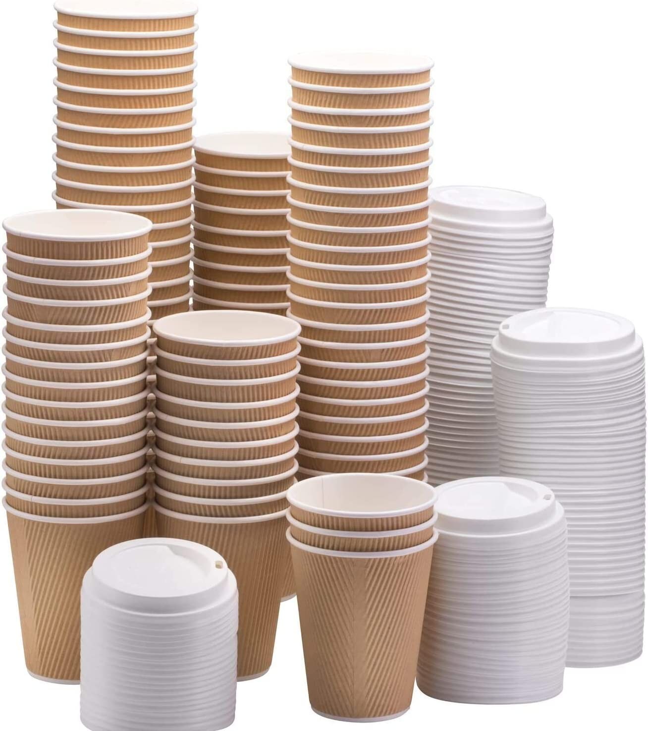 NYHI Set of 150 Brown Disposable Paper Cups with White Lids (6 oz.) | Ripple Insulated Kraft for Hot Drinks - Tea & Coffee | Triple Layer Design | Recyclable, Durable Paper