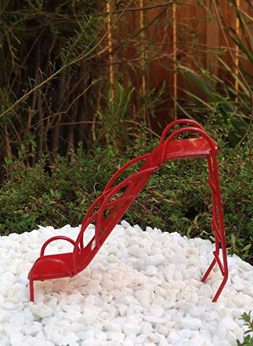 Miniature Dollhouse FAIRY GARDEN ~ Red Metal Vintage-Style Playground Slide NEW
