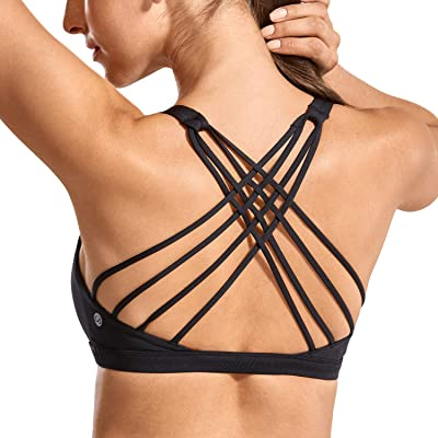 CRZ YOGA Strappy Sports Bras for Women Cross Back Sexy Padded Yoga Bra Tops Cute Activewear at Women's Clothing store