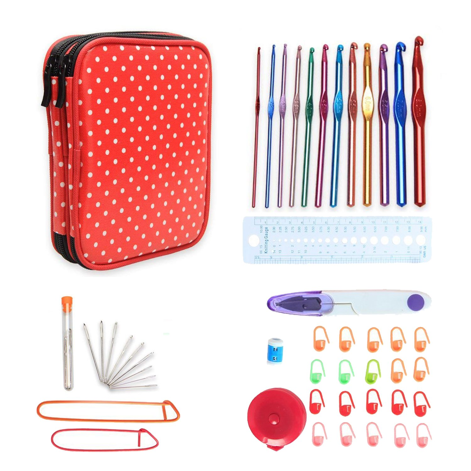 Teamoy Aluminum Crochet Hooks Set, Crochet Hook Organizer Case with 12pcs 2mm to 8mm Aluminum Hooks and Complete Accessories, All in One Place and Easy to Carry, Purple Dots Damai TY03203