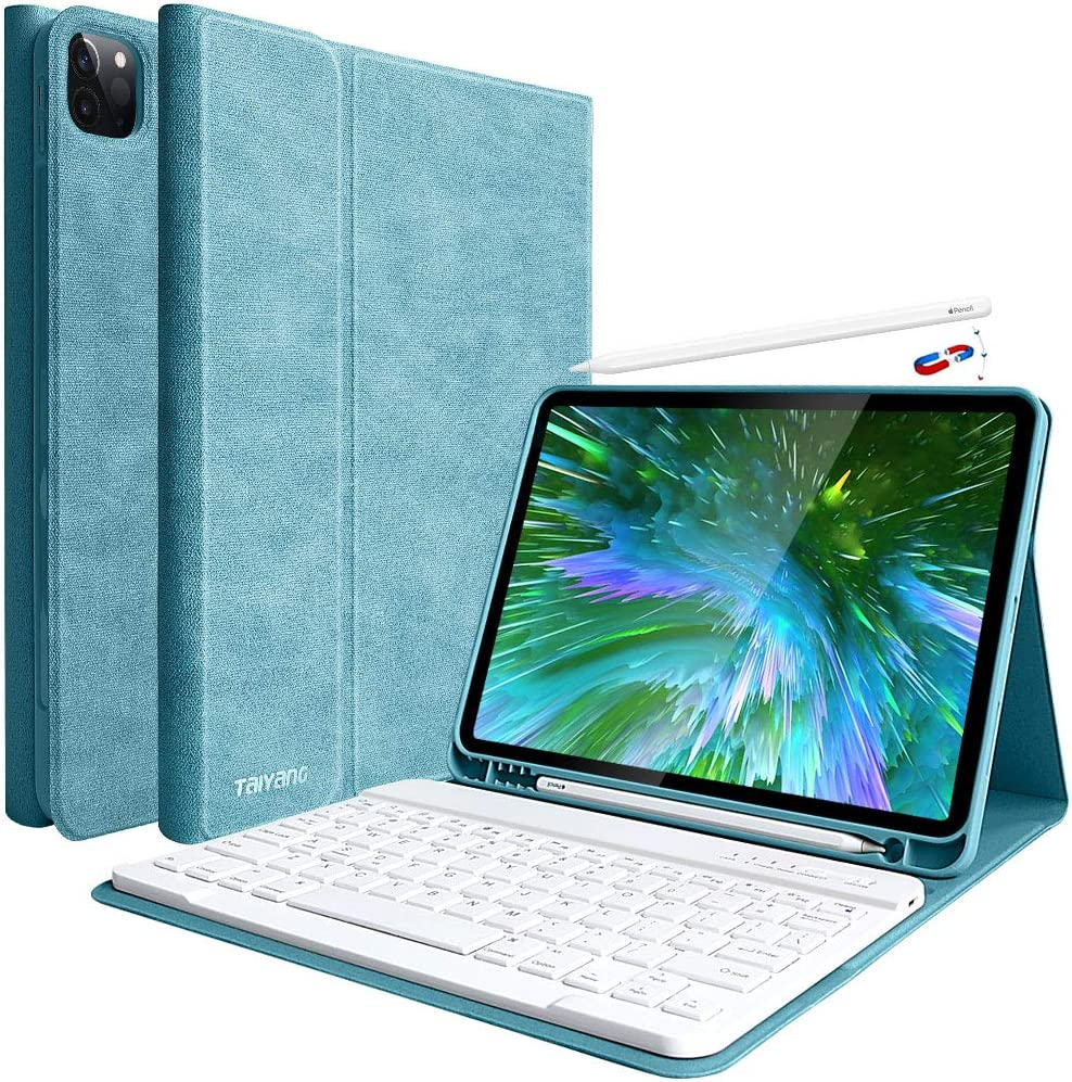 iPad Pro 11 Keyboard Case 2020 Detachable Wireless Bluetooth Keyboard Magnetic Smart Case for iPad Pro 11 Inch 2018, Supports Apple Pencil Charging, Lake Blue