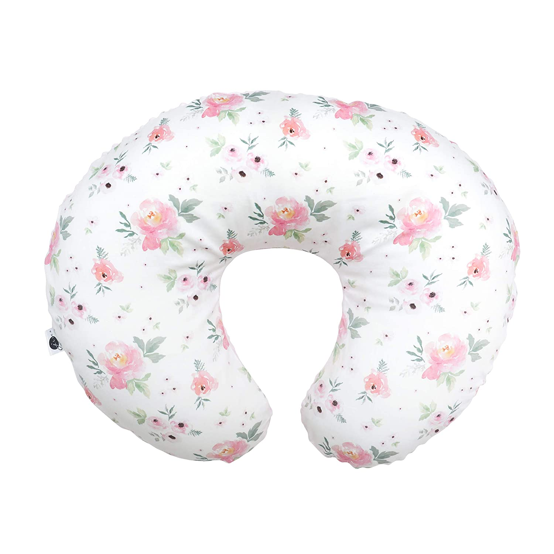 JLIKA Nursing Pillow Cover Slipcover Minky Girl - Farmhouse Nursery Decor for Baby Girls (Sweet Blush Roses)