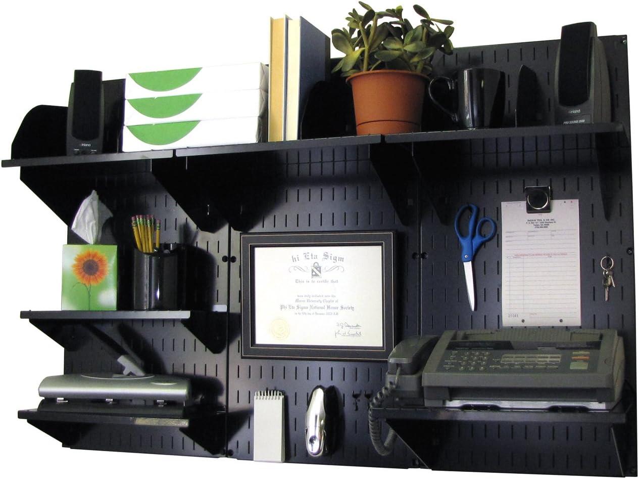 B0002U3CM6 Wall Control Office Organizer Unit Wall Mounted Office Desk Storage and Organization Kit Black Wall Panels and Black Accessories 71Ne03MF7zL