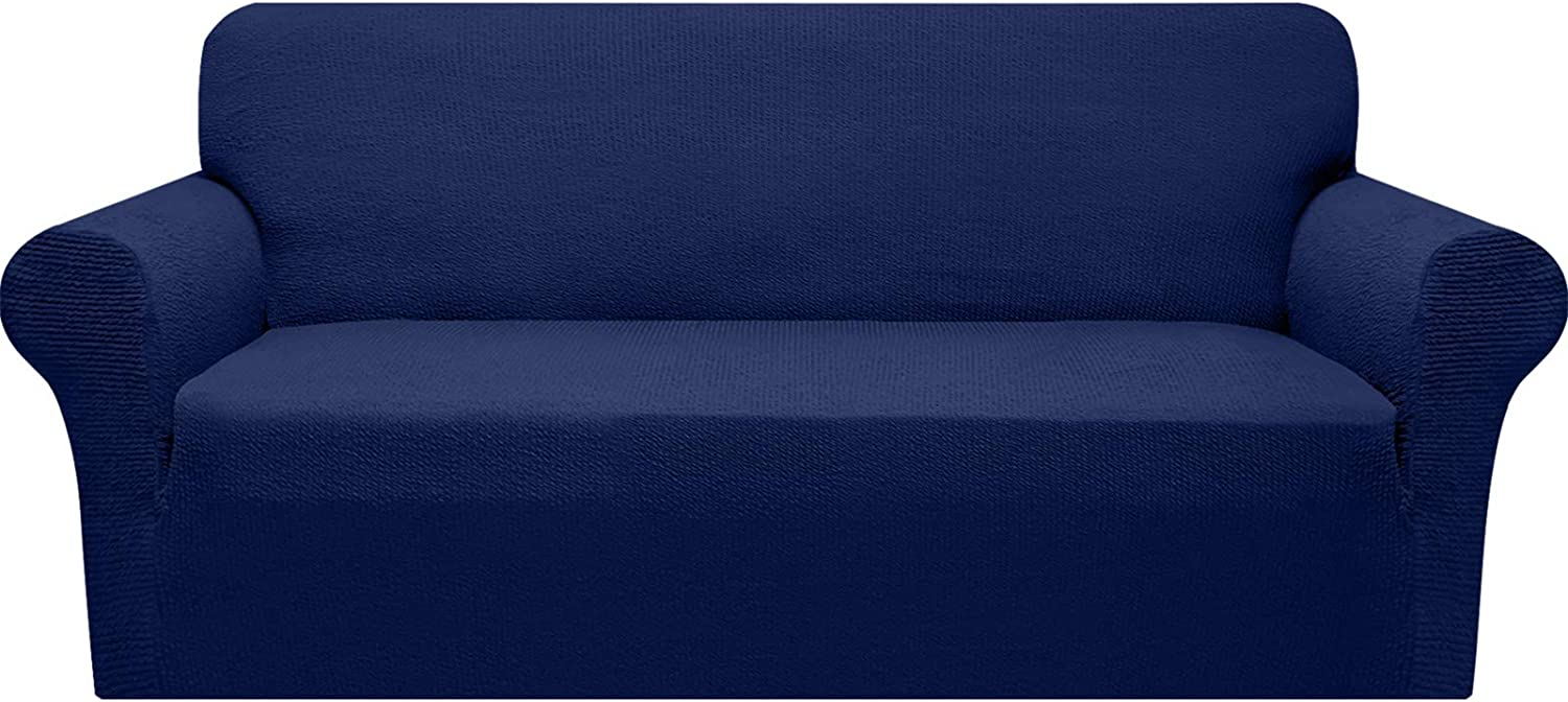 Granbest Modern Couch Cover Stylish Pattern Sofa Covers for 3 Cushion Couch Durable Furniture Protector 1-Piece Sofa Slipcover with Non-Slip Foam Elastic Bottom(Large, Navy Blue)