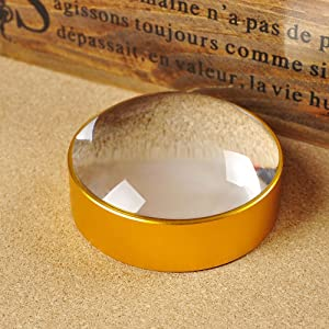 10X Domed Magnifying Glass 75mm Golden Desktop Paperweight Magnifier Reading Aid for Small Fine Print,Newspaper,Bible,Document Examination,Recipes, Craft and Map, Hand Polished & Light Gathering