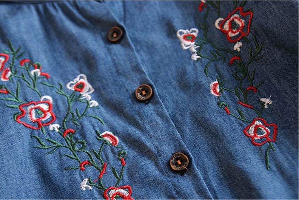 MNLYBABY Kids Baby Girls Flower Embroidered Denim Blouse Long Sleeve Casual Button Down Shirt