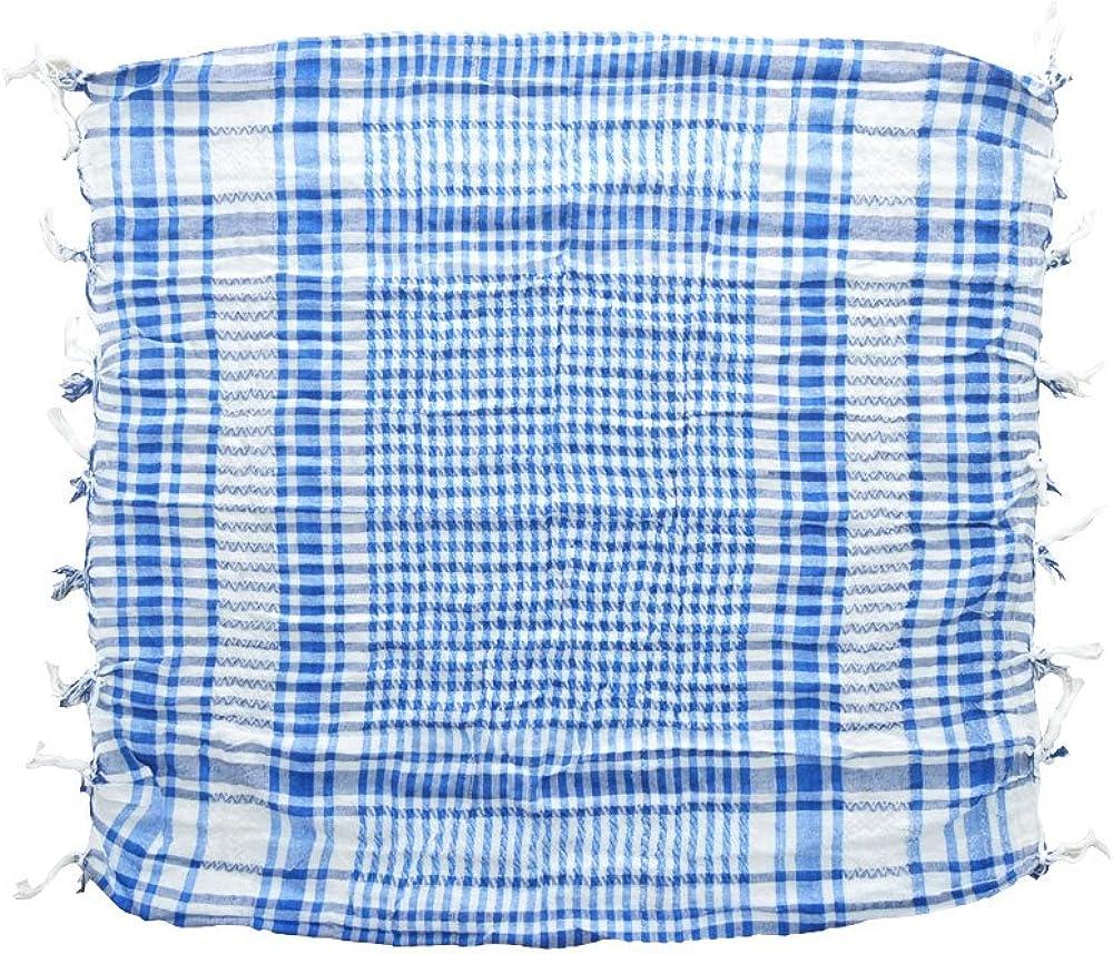 Pañuelo palestino azul-blanco a cuadros 100x100cm algodón árabe ...