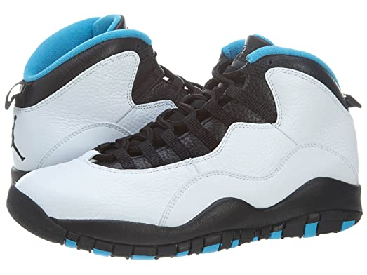 official photos 15a14 91dfa ... NF1492 - 66.00 Air  Nike Mens Air Jordan Retro 10 White Dark Powder Blue -Black Leather Basketball Shoes ...