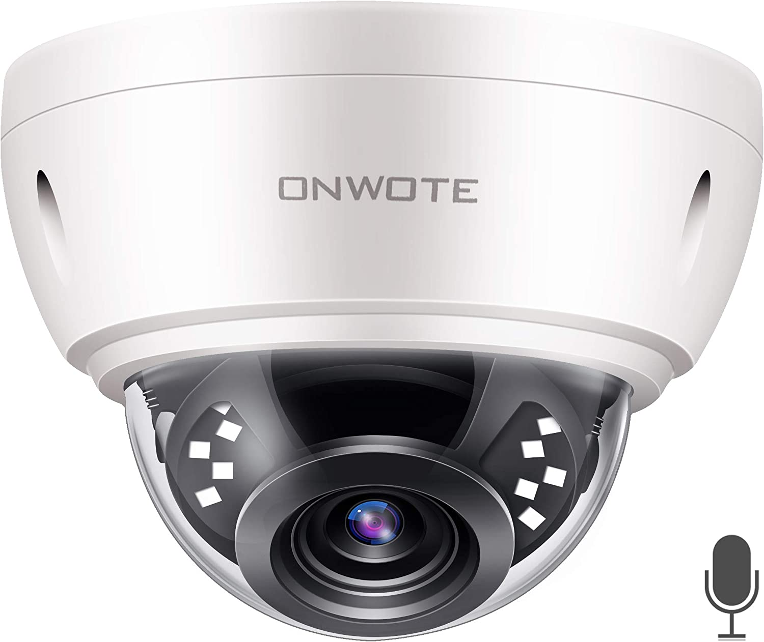 Audio ONWOTE 5MP HD IP POE Security Camera Outdoor Dome Onvif, 5 Megapixels 2592x 1944P Super HD Vandalproof Camera, 100ft IR, 90 Viewing Angle, IP66 Waterproof, Remote Access, Motion Alert