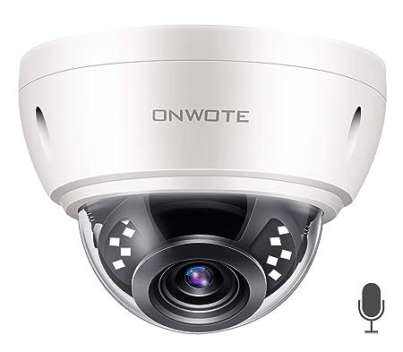 Audio ONWOTE 5MP HD IP POE Security Camera Outdoor Dome Onvif, 5 Megapixels 2592x 1944P Super HD Vandalproof Camera, 100ft IR, 90 Viewing Angle, IP66 Waterproof, Remote Access, Motion Alert