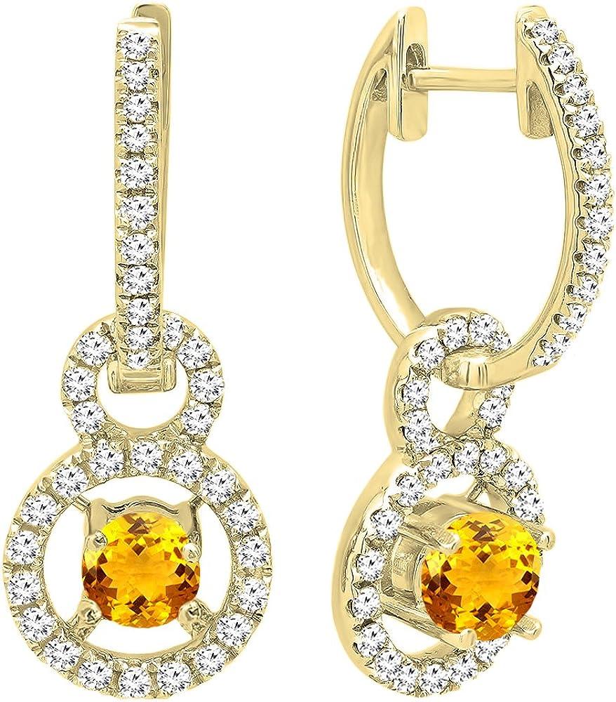 DazzlingRock Collection 18k Oro Amarillo Corte Redondo Piedras Preciosas y Diamantes Mujer halo Colgando Pendientes Citrino