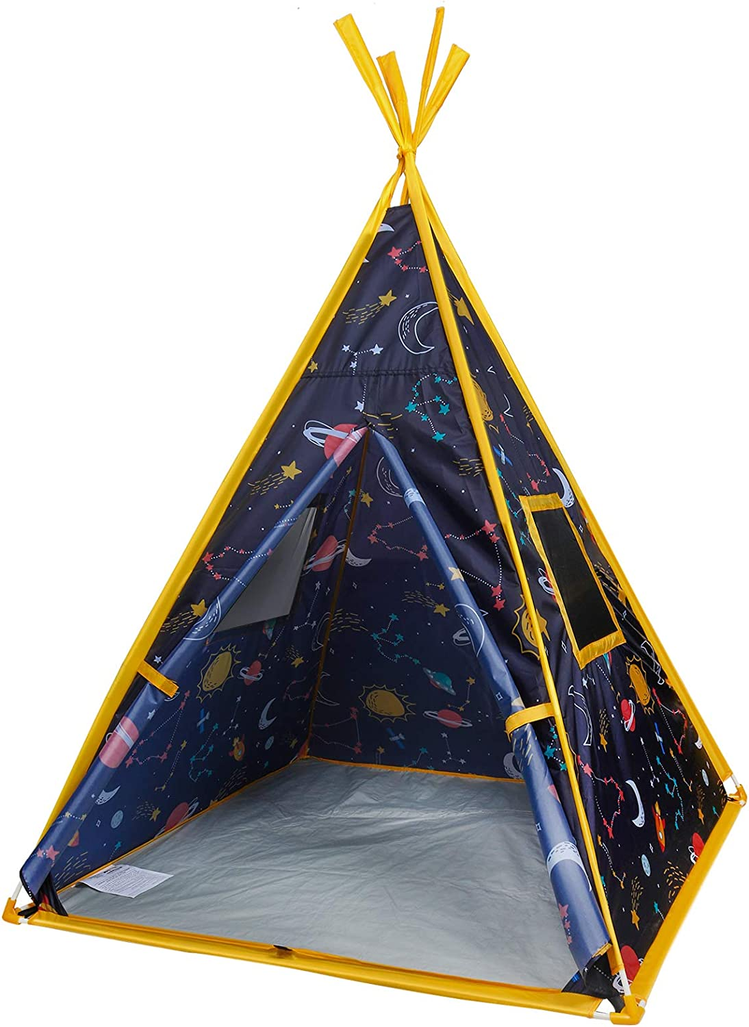 """MountRhino Kids Teepee Tent -44""""x44""""x61"""" Large Happy Hut Galaxy Space Kids Tent, Indoor Outdoor Playhouse Tents for Boys and Girls,Kids Indian Teepee Play Tent ,Perfect Kid's Gift"""