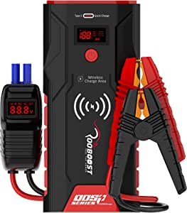 ROOBOOST™ UPGRADED 1500A Peak Ultra-Safe Car Jump Starter (Up to 7L Gas and 5L Diesel) with Digital Display, Wireless Phone Charger, USB Quick Charge 3.0, Digital Smart Jumper Cable, Type-C In/Out Portable Power Bank, Built-in LED Light, 12V, QDSP Series, RB-PRO1500