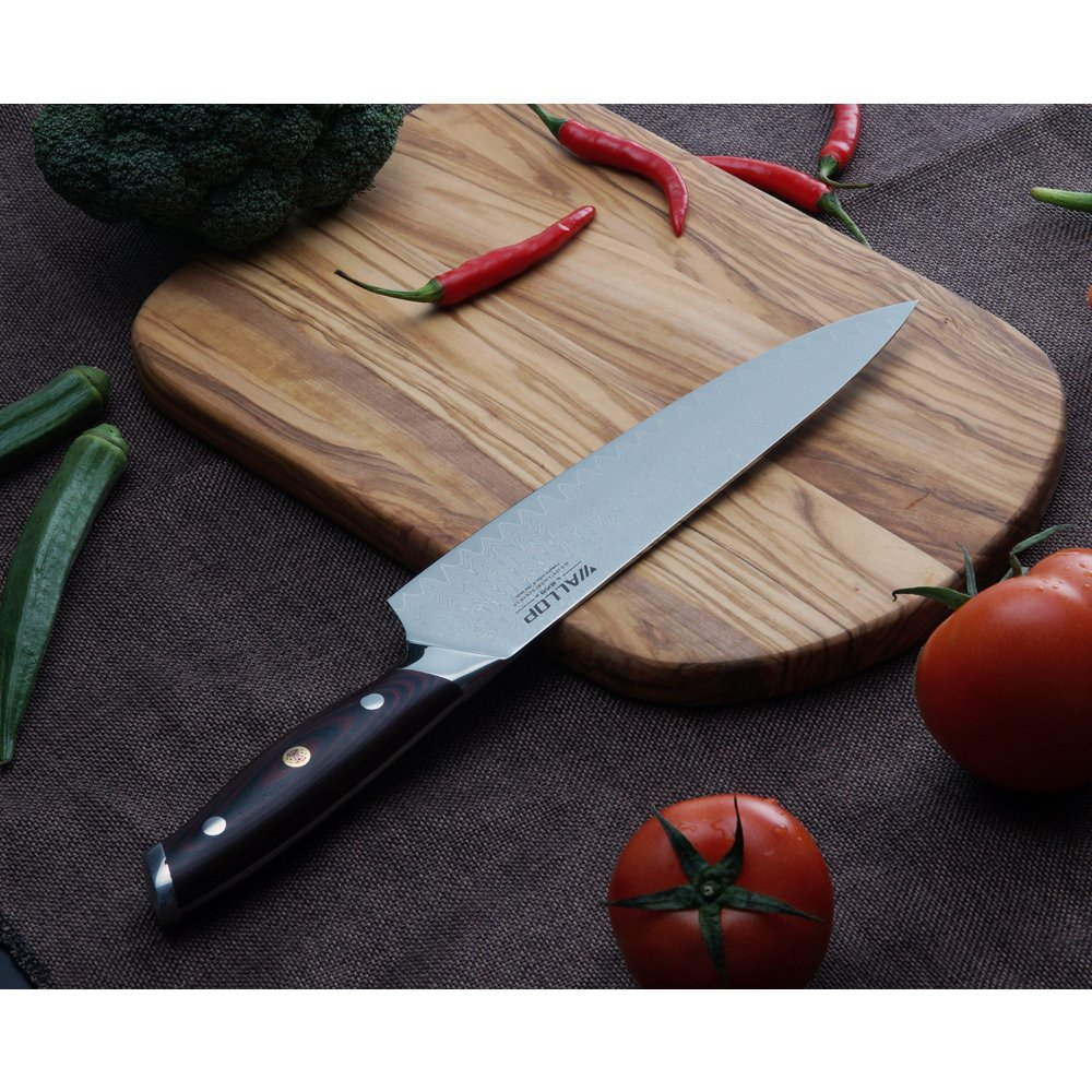 8' AUS-10 Core 67 Layers Damascus Chef Knife with G10 Handle and Wave Blade Pattern, Meat Cleaver, Vegetable Salad Chopper Cutter Knife by WALLOP VP by WALLOP (Image #3)