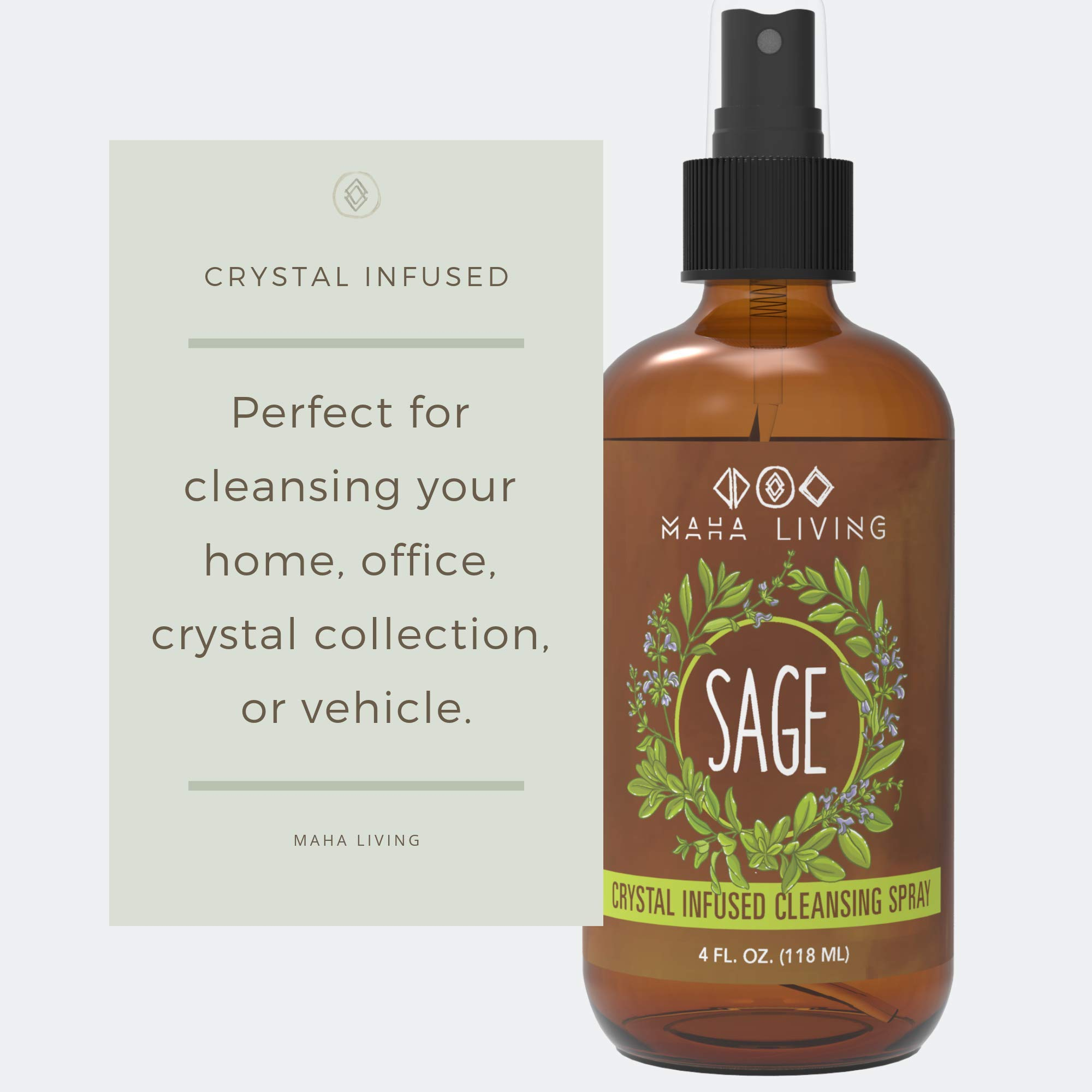 Sage Spray - Natural Essential Oil Spray for Cleansing Your Home, Office, or Linens - Crystal Infused to Help Purify And Restore - Perfect as an Air Freshener, Pillow Spray, or Aromatic Mist (4 oz) by Maha Living (Image #7)