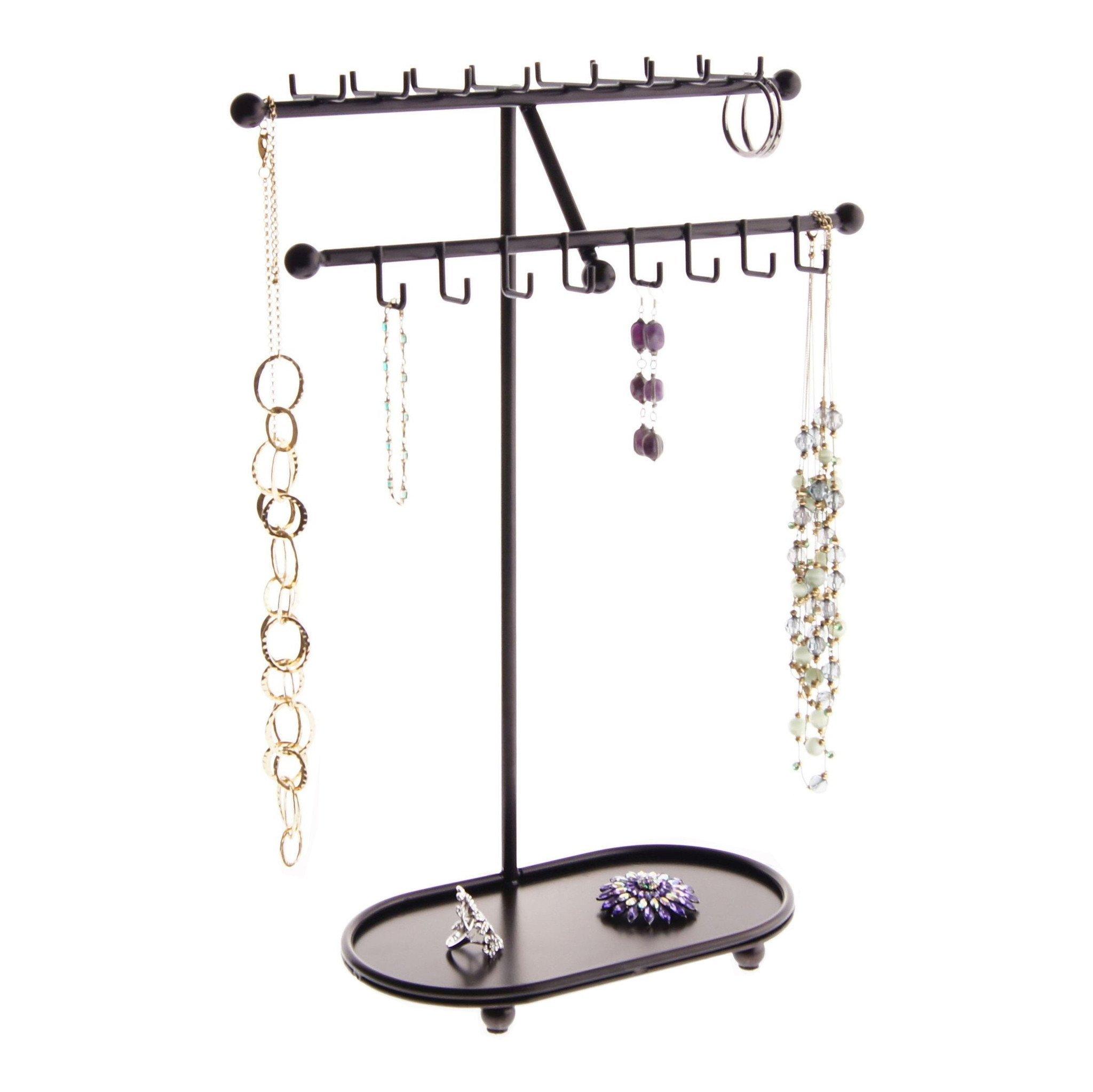 Angelynn's Necklace Holder Organizer Jewelry Tree Stand Storage Rack, Sharisa Rubbed Bronze