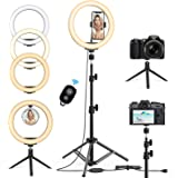 10.2'' Selfie Ring Light with Tripod Stand & Phone Holder - Upgraded Dimmable Camera Ring Light with Makeup Mirror for…