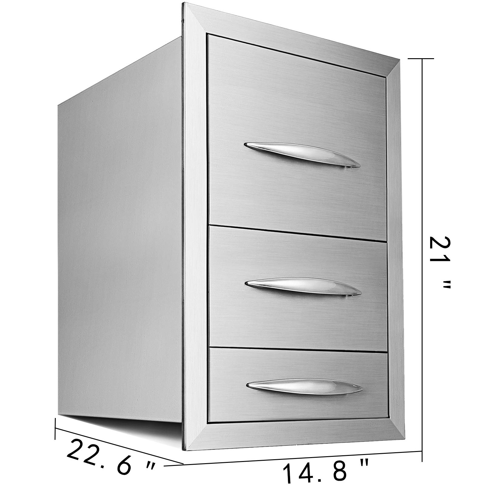 Mophorn 15''x21'' Outdoor Kitchen Drawer Stainless Steel Triple Access Drawer BBQ Storage with Chrome Handle Flush Mount Sliver by Mophorn (Image #2)