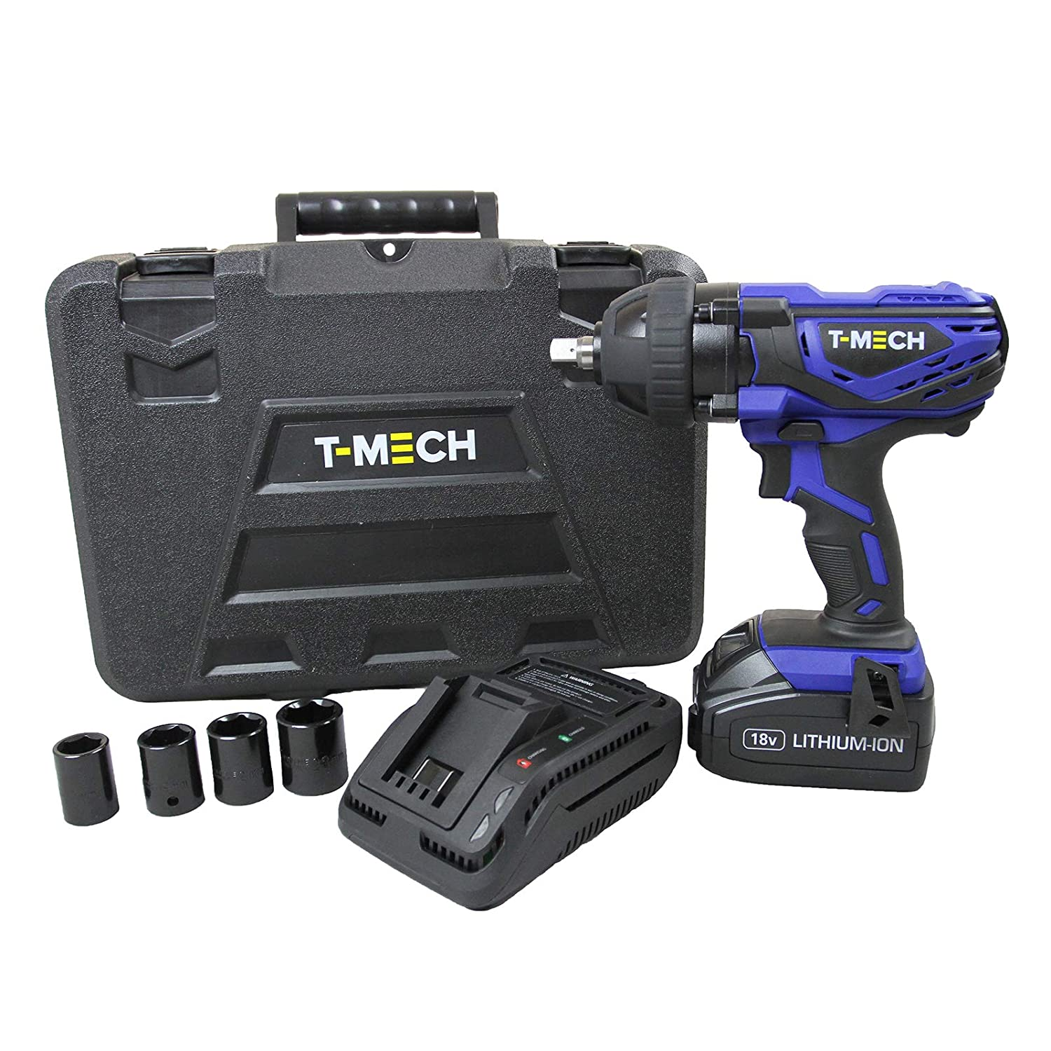 T-Mech Impact Wrench 18V Electric Cordless 1/2 Inch Driver Tool / 17mm, 19mm, 21mm & 23mm ½ Inch sockets 21mm & 23mm ½ Inch sockets MonsterShop