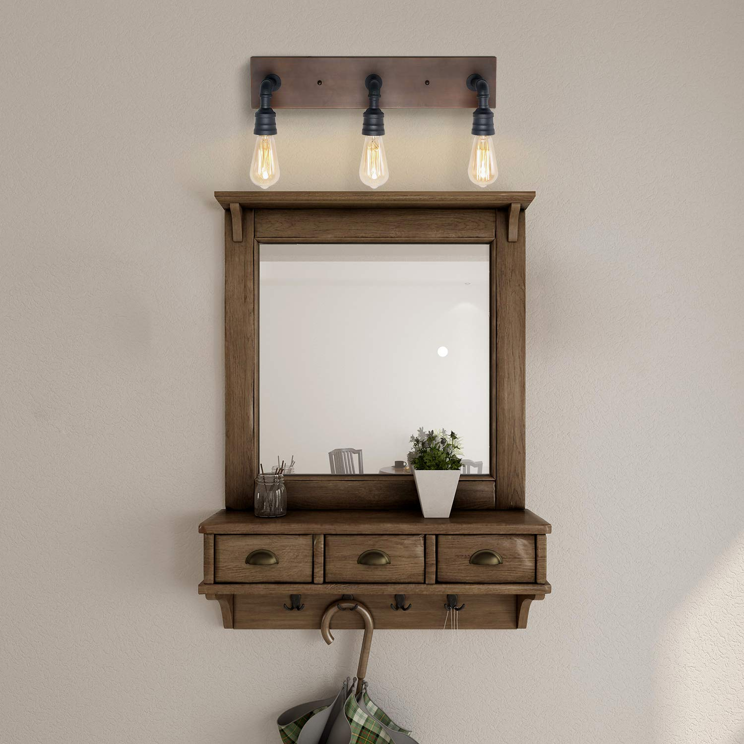 LNC Bathroom Vanity Lights, Farmhouse Wood and Water Pipe Wall Sconces(3 Heads )A03376, by LNC (Image #2)