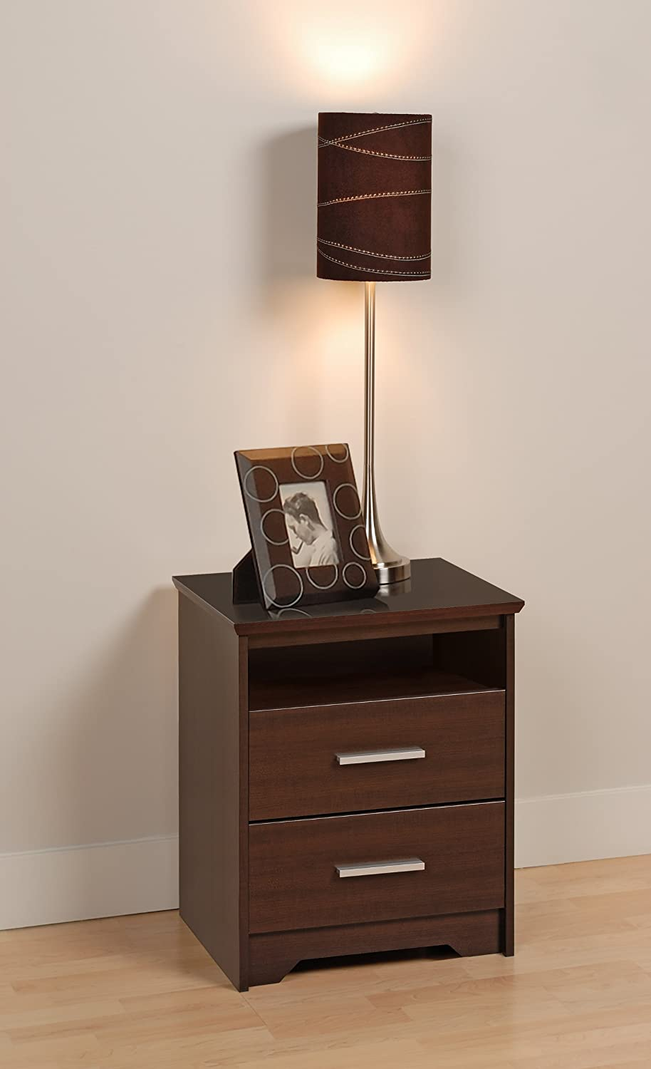 Prepac BCH-2250 Coal Harbor 2-Drawer Tall Nightstand with Open Shelf, Black Prepac Manufacturing