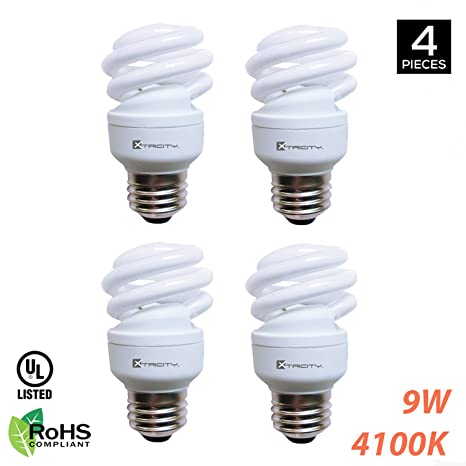 Compact Fluorescent Light Bulb T2 Spiral CFL, 4100k Cool White, 9W ...