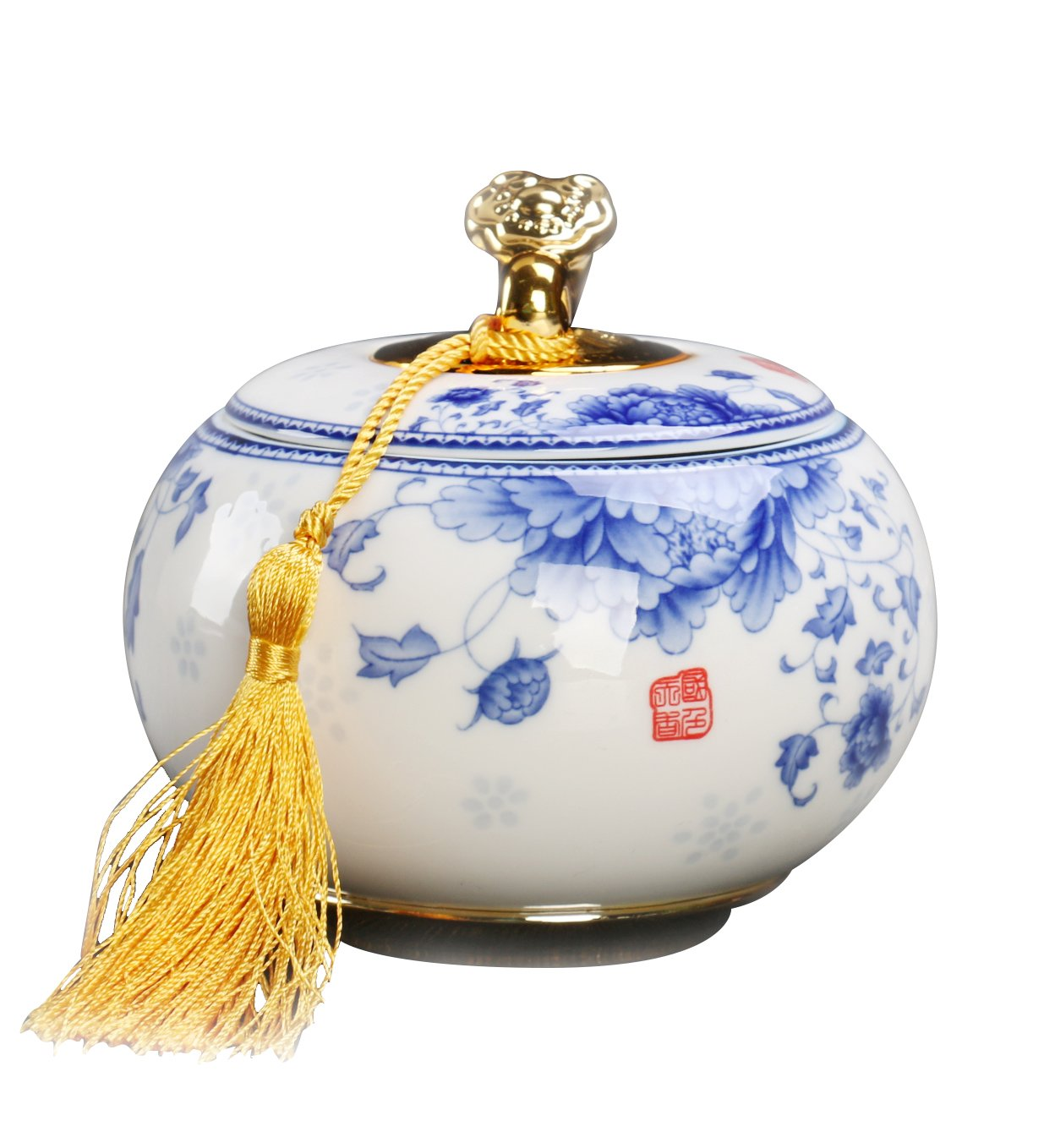 JKCOM Chinese Style Ceramics Tea Container, Tea Caddy, Porcelain Tea Storage Jar Smooth Surface