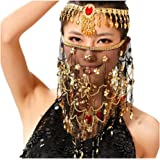 Saymequeen Women Beaded Belly Dance Face Veil Lady Beautiful Costume Accessory