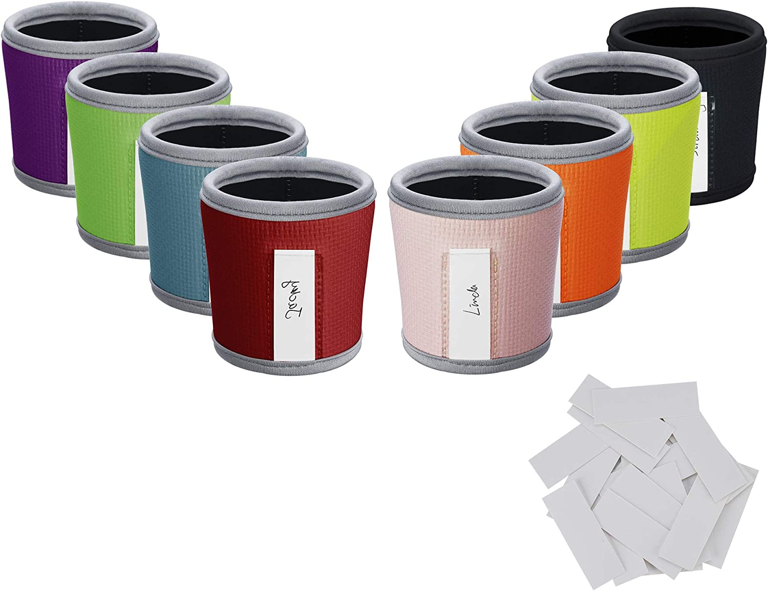 Beautyflier 8pcs Anti-Slip Embossed Neoprene 3mm Thick Collapsible Heat Resistant Coffee Cup Insulated Sleeve for Coffee/Tea/Cold Drinks (Multicolor embossed)