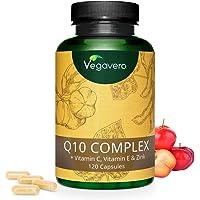 Q10 COENZIMA Vegavero® | 100 mg | con Vitamina C, Vitamina E e Zinco | 120 capsule | Vegan