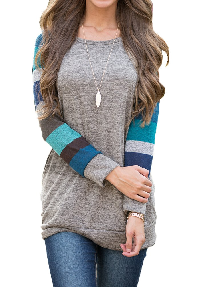 POSESHE Women's Long Sleeve Round Neck Patchwork Casual Shirt Tops Blue M