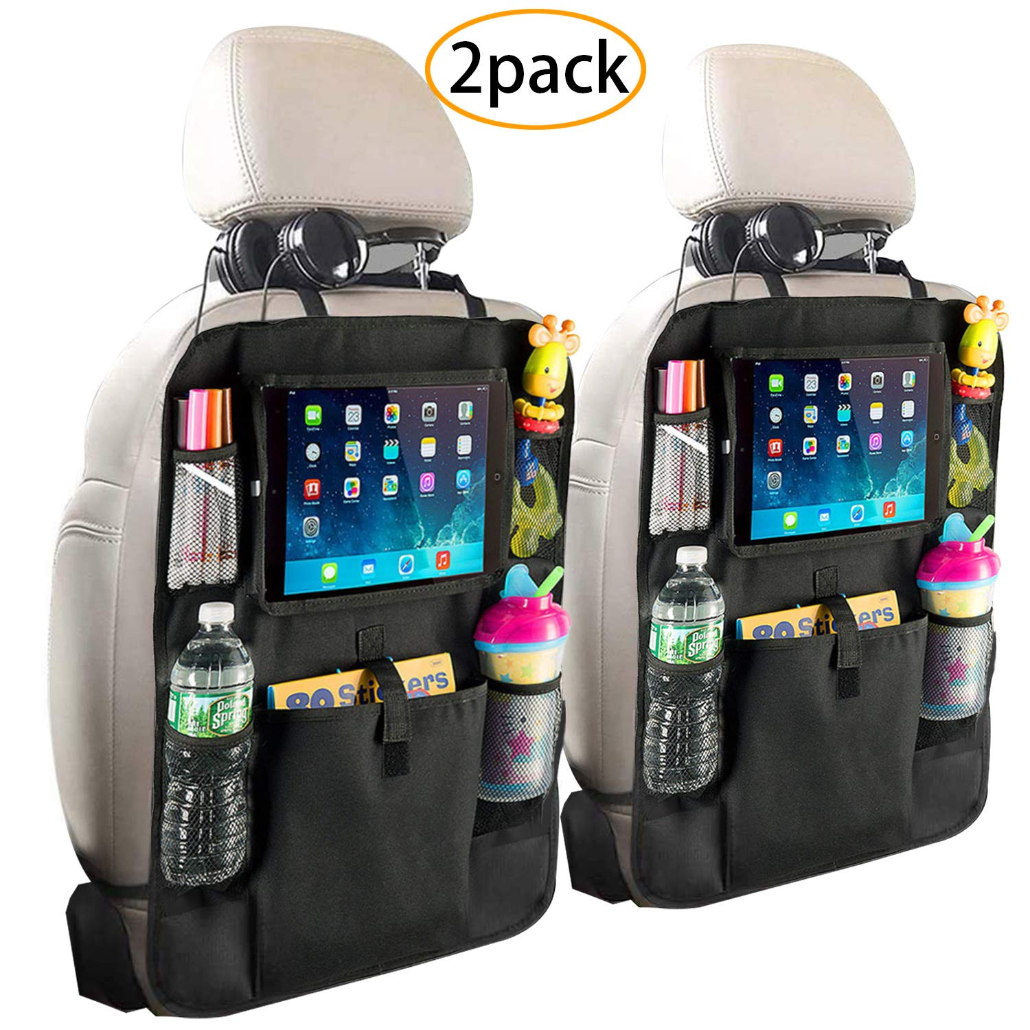 Fullsexy 2 Pack Car Back Seat Organizer with Touch Screen Tablet Holder, Waterproof Kick Mats Backseat Protector, NO Bad Smell (24'' X 16'') by Fullsexy