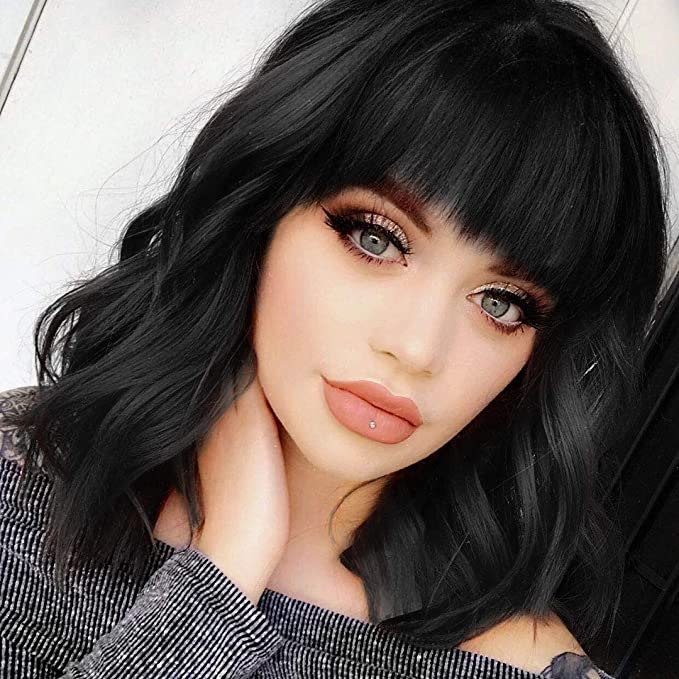 Asincbd Black Wigs for Women 26 Long Black Curly Wavy Hair Wig with Bangs Natural Fashion Cute Synthetic Wig for Daily Party AD002BK