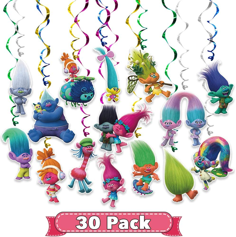 Trolls Birthday Party Supplies Hanging Swirl Banner Decorations Glitter Foil Ceiling Decor for Kids World Tour Birthday Party Baby Shower Room Wall Decor 30 Counts