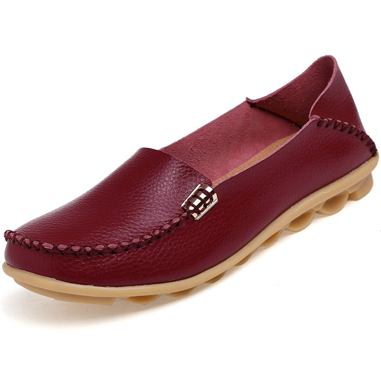 Beststore VAO Summer Candy Colors Genuine Leather Women Casual Shoes New Fashion Breathable Slip-On Peas Massage Flat Shoes Plus Size 35-44 B078FSDGX8 5 B(M) US|Wine
