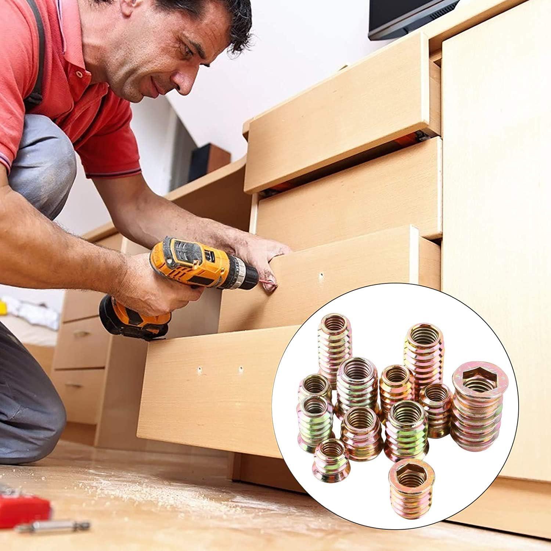 BITEFU 82 St/ück Gewindeeins/ätze M6 M8 Einschraubmuffen Farbe Zinklegierung Hex Einschraubmuttern Sortiment Kit f/ür Holz M/öbel