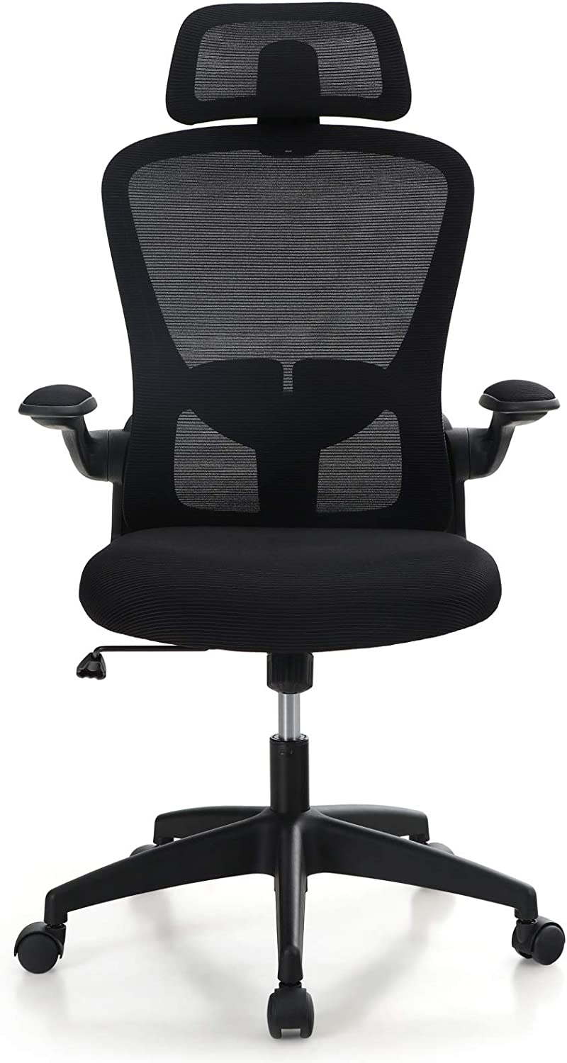 MAISON ARTS Ergonomic Home Office Chair Swivel Computer Desk Chair, Breathable Computer Mesh Chair with Flip-up Armrests, Headrest and Lumbar Support