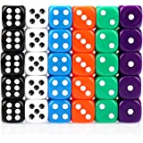 H&S 30x Dice 6 Sided 16mm 6 Colours Spot Dice Set for Dice Games