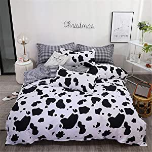 Duvet Cover Set 4 Pieces Single Queen King Twin Full, Morbuy Bedding Set 4 pcs Flat Pattern Reversible Printed Microfiber Soft 1 Quilt Cover 2 Pillowcases 1 Sheets (AU Single-140x210cm,Cow Pattern)