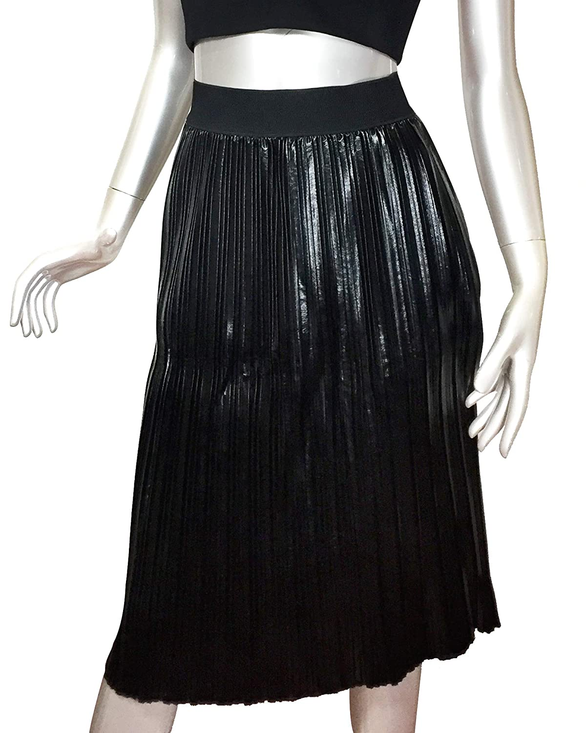 b923d9c60 Black Faux Leather Pleated Skirt – DACC