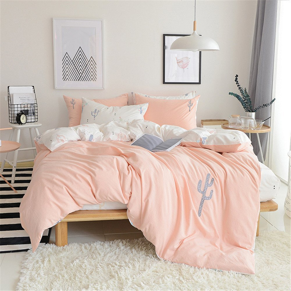 PinkMemory Queen Pink Duvet Cover Set Girls Solid Color Washed Cotton Bedding Set Ultra Comfy Embroidered Cactus Design Reversible Peach White Bedding Duvet Cover Set