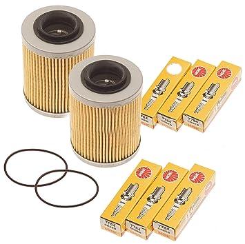 Mar Doo Spark 900 Filtro de aceite w/Junta tórica y bujías NGK 420956123 CR8EB 2 unidades: Amazon.es: Coche y moto
