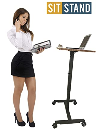 Rife Instant Sit-Stand Desk is Height Adjustable Pneumatic Lever Laptop Mobile Desk Cart
