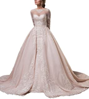Rudina Detachable Champagne Mermaid Wedding Dresses 2018 Long Sleeves Satin Detachable Train Bridal Gowns for Dress
