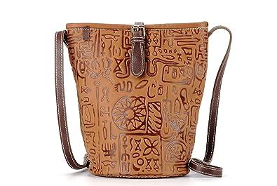 05b959405c La Poet Women's Vintage Embossed Calfskin Genuine Leather Small Cross Body Bucket  Shoulder Bag Purse (